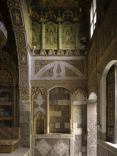 Nizam House Restoration, Damascus, Syria. -Interior view, Grapes Room, carved stone decoration detail, before intervention | Archnet