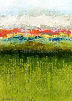 Paisaje color campo pintura abstracta con verde por NikkiGalapon
