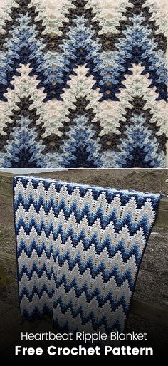 Heartbeat Ripple Blanket Free Crochet Pattern #crochet #crafts #homedecor #handmade