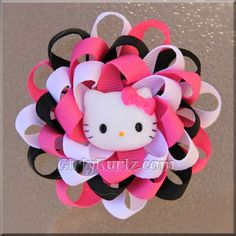 Hello Kitty Pink, White & Black Loopy Puff Bow