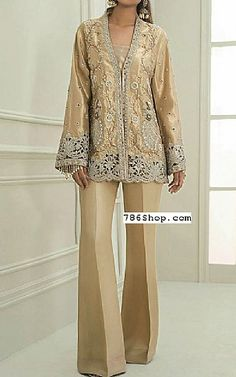 Golden Tissue Silk Suit   Buy Pakistani Fashion Dresses and Clothing Online in USA, UK Pakistani Dresses Online Shopping, Pakistani Formal Dresses, Online Dress Shopping, Pakistani Designer Clothes, Pakistani Designers, Indian Designer Outfits, Designer Party Dresses, Party Suits, Silk Suit