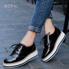 classic fit d8c8f 72c84 Tienda Online EOFK Primavera Plataforma de Las Mujeres Zapatos de Mujer  Atan Para Arriba Calzado de Charol Pisos Brogue Oxford Zapatos Planos  Femeninos de ...