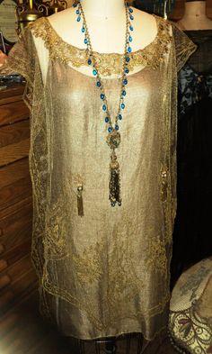 1920's Antique Metallic Tabard Dress Fabulous tassels Lame chemise Torchon Lace Collar Original