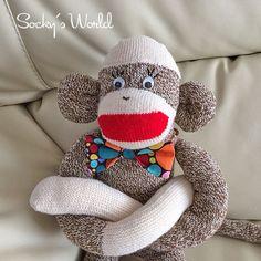 Sock Monkey(Medium) Boy #67 - Red Heel Socks, Monkey by KnKCraftsAndDesigns on Etsy https://www.etsy.com/listing/208219570/sock-monkeymedium-boy-67-red-heel-socks