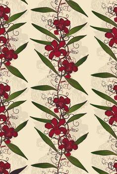 Timorous Beasties Wallcoverings - Oriental Orchid Hand-Print