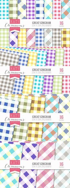 Great Gingham patterned papers. Patterns
