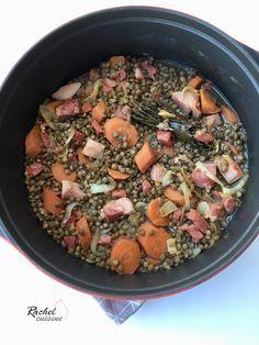 Lentilles vertes au jambon et carottes. Une recette saine et équilibrée de lentilles. Recette économique et simple à réaliser.