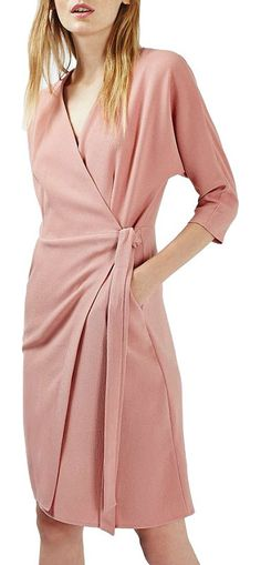 dolman sleeve wrap midi dress by Topshop. Looking perfectly polished is a cinch with this tailored stretch-crepe wrap dress that's sophisticated enough for bot...