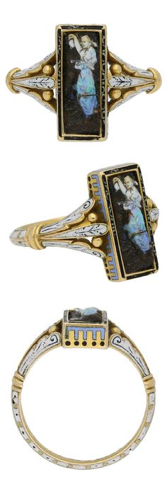 Attributed to Wilhelm Schmidt for Giuliano - A Victorian gold, enamel and carved opal ring, English, circa 1890. Set with a rectangular natural opal plaque in a closed back rub-over setting, finely carved to depict a female figure, encompassed by a delicate enamelled edge, the collet decorated with additional enamel detail and flanked by ornamental split trumpeting shoulders enhanced with gold granules and flowing though to a solid V-shape shank with elaborate enamel work flourishes…
