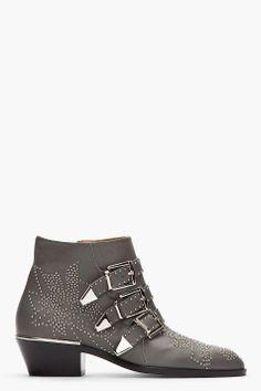 Chloe Grey Studded Susanna Boots for women | SSENSE