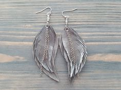 Feather Earrings, Boho Earrings, Gemstone Earrings, Etsy Earrings, Drop Earrings, Leather Fringe, Gold Leather, Leather Jewelry, Ankle Tattoos For Women Anklet