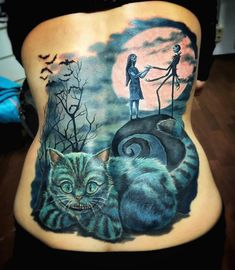 Tim Burton's 'The Nightmare Before Christmas' and the Cheshire Cat from 'Alice in Wonderland', cover-up piece by Nancy Mietzi.  http://tattooideas247.com/nightmare-cheshire-cat/