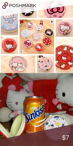 3 for $8 Sanrio Hello Kitty Coin Purses Absolutely ADORABLE HK coin purses with 8 different designs available. The design is imprinted on lightweight metal on both sides. The inside has a plastic tray in each side that has a felt-like coating. There is a small wristlet strap attached. The picture with the soda can is for reference.  3 for $8 OR make an offer on all 8 for party gifts, Easter baskets, etc. Please ask if any questions. Thanks for stopping by! Sanrio Bags Clutches & Wristlets