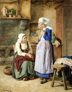 The Seamstress - Jules Trayer (1824 – 1909, French)