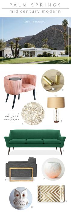 Palm Spring / Mid Century Modern - that chair screams Hollywood Regency. Love it! I'm really digging the mid century modern look lately... I'm might be re decorating my whole house. Maybe :)