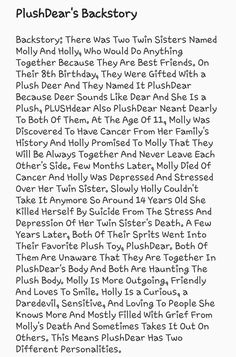 PlushDear's Backstory ((Made By: MagicalCreativity))