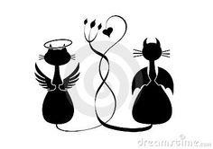 Schattenbilder von zwei Katzen. Engel und Teufel