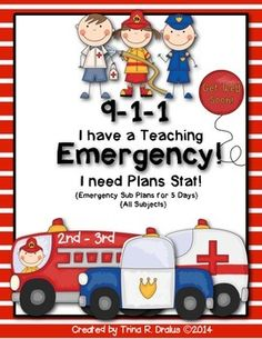 Emergency Sub-Plans for 2nd-3rd-Grade is perfect for anyone who is in need of sub-plans stat.  This bundle is great for such an occasion. These plans are also helpful if you are required to have a week of plans ready to go. There will be no more coming to school sick because you don't have plans. #emergencysubplans
