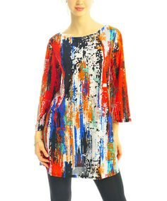Red & Cobalt Abstract Boatneck Tunic #zulily #zulilyfinds