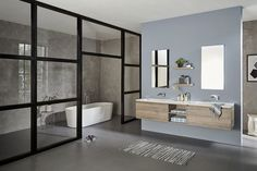 21 Ideas Bath Room Grey Stone Shelves For 2019 Space Saving Baths, Marble Bathtub, Blue Grey Walls, Grey Laundry Rooms, Room Wall Colors, Vanity Decor, Room Shelves, Cabinet Decor, Room Interior Design