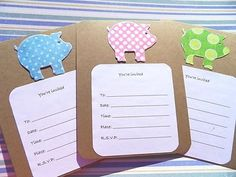 Add tiara ?? Baby Shower Invitations - Polkadot Pig Invitations - Kraft Paper Invitations - PGINV. $12.50, via Etsy.