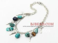New Fashion turquoise metal chain necklace with cross Free Shipping