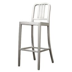 Brushed aluminum indoor/outdoor barstool with non-marking feet and a slatted back.  Product: BarstoolConstruction Materia...