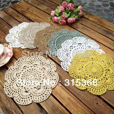 Free shipping Shabby Chic Vintage Crocheted Doilies 20cm Handmade Crochet Coastet cotton lace cup mat 24pcs/Lot
