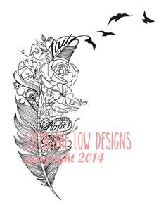 Custom Tattoo Illustration for Alyssa C by SlowDesigns on Etsy kepeann@gmail.com www.facebook.com/StephanieLowDesigns Rose, Sweet Pea and Morning Glory feather with bits of paisley designs Custom Feather tattoo