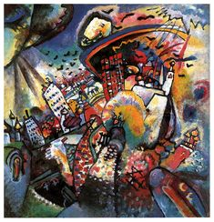 Moscow | Artist: Wassily Kandinsky | Completion Date: 1916 | Place of Creation: Moscow, Russian Federation | Style: Expressionism | Genre: Cityscape | Technique: oil Material: canvas Dimensions: 49.5 x 51.5 cm Gallery: The State Tretyakov Gallery, Moscow, Russia Tags: allegories-and-symbols, houses-and-buildings, Moscow, Russia | (1063×1102)