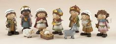 10pc Nativity Kid Set made of resin. Size 4""