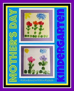 Kindergarten ceramic tiles created for Mother's Day (from finger-printed flowers)