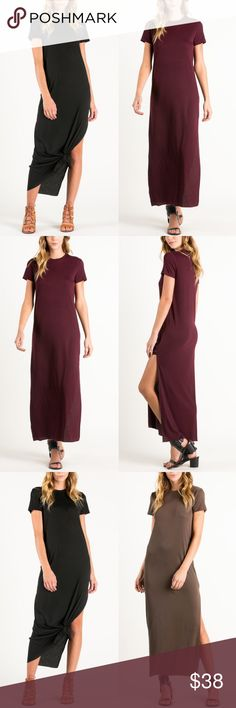 SANDEE short sleeve dress w/ slit - DEEP WINE Short sleeve long dress with side slit on one side. Super comfy & breathable. 65% poly, 35% spandex. AVAILABLE IN MOCHA & DEEP WINENO TRADE, PRICE FIRM Bellanblue Dresses