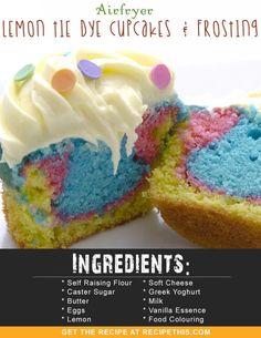 #Airfryer Recipes   #Airfryer Lemon Tie Dye Cupcakes & Frosting