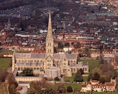 An aerial view of Salisbury Cathedral