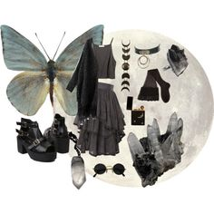 Lunar moth by bloodmoonsuccubus on Polyvore featuring мода, AllSaints and CERVIN