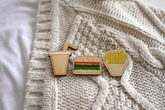 This fast food brooch set. | 24 Wooden Accessories To Bring You Closer To Nature