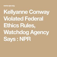 Kellyanne Conway Violated Federal Ethics Rules, Watchdog Agency Says : NPR Campaign Manager, Sayings, Awesome, News, Federal, Lyrics, Word Of Wisdom, Quotes