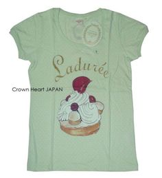 New-Uniqlo-x-Laduree-Dot-Cake-Print-T-Shirt-Short-Puff-Sleeve-Green-S-JAPAN