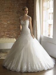 Moonlight Couture Wedding Dresses - Style H1193  a little too puffy, but i love the top of this dress :)