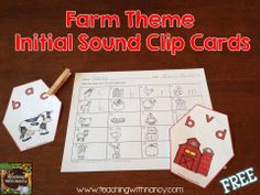 Free: Farm themed initial sound clip cards with answer recording sheet.