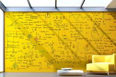 Clear Dry Erase Paint by whiteyboard: Turn ANY color wall into a whiteboard. I was thinking of a chalkboard wall in a studio but whiteboard is also a must Dry Erase Paint, Dry Erase Wall, Dry Erase Board, Large Whiteboard, Painted Boards, Co Working, Learning Spaces, Mellow Yellow, Yellow