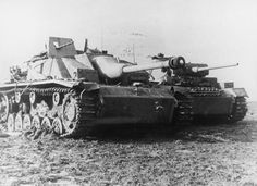 GERMAN ARMY EASTERN FRONT 1941-1945 (HU 111374)   A Sturmgeschutz III assault gun and a Pzkpfw III tank, probably of 5th SS Panzer Division, at the time of the breakout from the Korsun-Cherkassy pocket, February 1944.