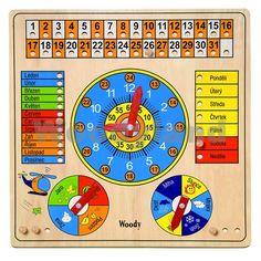 Víceúčelový kalendář s hodinami a barometrem, Woody 90649