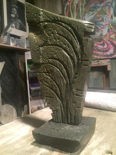 """Bluestone carving on San Juan slate base- 12"""" high - natural stone by Daniel Poisson -www.pitchandtrace.com Hammer And Chisel, Stone Carving, Slate, Natural Stones, Bookends, Home Decor, San Juan, Homemade Home Decor, Stone Sculpture"""