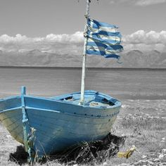Blue boat, Corfu, Greece by Jørn Berg Lund Color Splash, Color Pop, Color Blue, Myconos, Row Row Your Boat, Blue Boat, Cottages By The Sea, Blue Dream, Sail Away