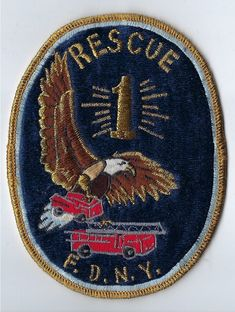 "FDNY Rescue 1 Gold thick thread 5"" patch"