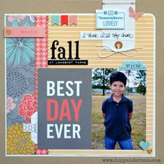 Fall at Longshot Farms - Scrapbook.com - Use little strips of busier patterns to avoid overwhelming a photo.