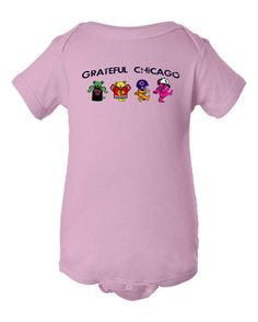 This Chicago Bears Grateful Dead onesie is available in white, gray, pink and blue. It shows all the Chicago Sports teams - Chicago White Sox, Bulls,