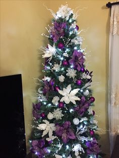 2016 purple and white christmas tree decorations - Purple Christmas Decorations Ideas
